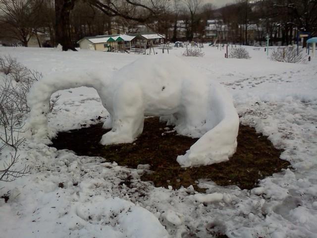 Snow Dinosaur in the park near our house on a recent snowy day